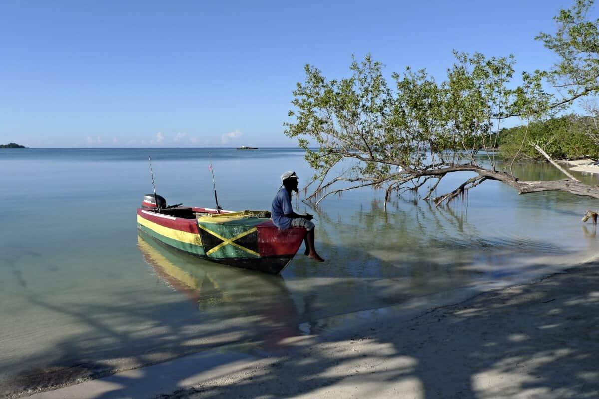 Jamajcanin sedi u camcu i posmatra prirodu. Karibi.